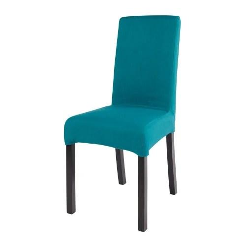 housse de chaise en coton bleu canard 41x70 maisons du monde