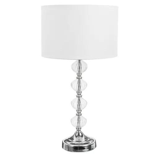 lampe avec pied en verre et abat jour en tissu blanc h 53 cm maisons du monde