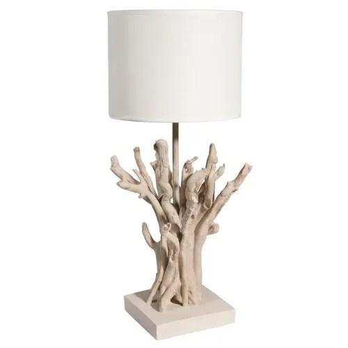 lampe imitation bois flotte et abat jour blanc maisons du monde