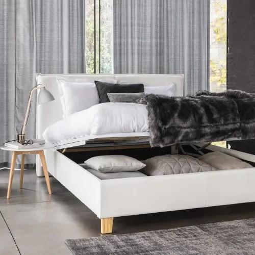 lit coffre avec sommier a lattes 140x190 blanc maisons du monde