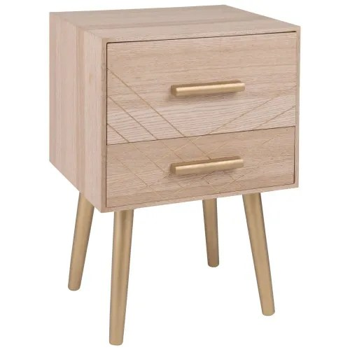 Matte Gold 2-Drawer Bedside Table