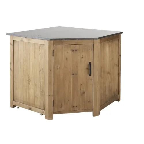 meuble bas d angle de cuisine 1 porte en pin recycle effet vieilli maisons du monde