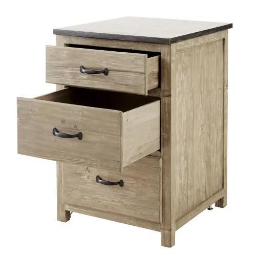 meuble bas de cuisine 3 tiroirs en pin recycle maisons du monde