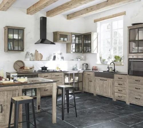 meuble bas de cuisine pour evier 2 portes en pin recycle grise maisons du monde