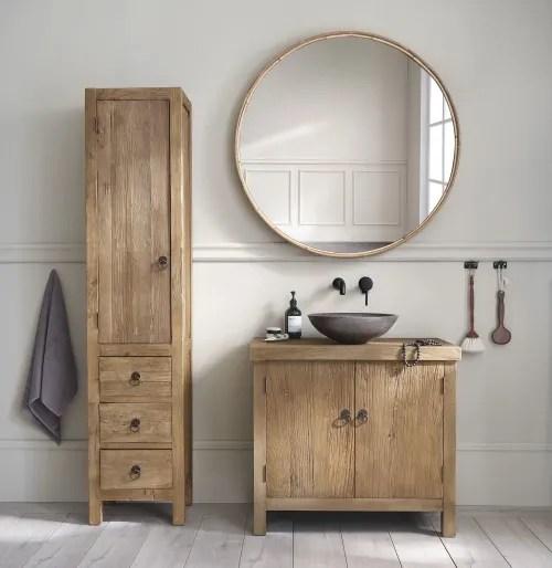 meuble colonne de salle de bains 1 porte 3 tiroirs en orme et pin recycles maisons du monde