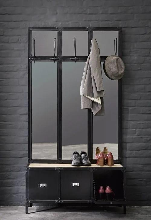 meuble d entree avec miroir en metal noir maisons du monde