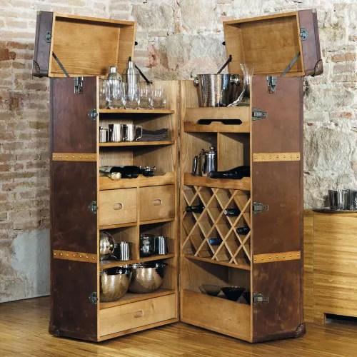 meuble de bar avec tiroirs en cuir maisons du monde