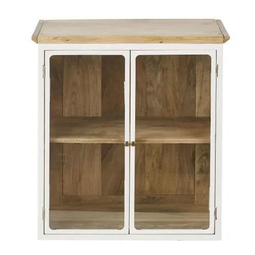 meuble haut de cuisine en manguier massif blanc 2 portes vitrees l60 maisons du monde