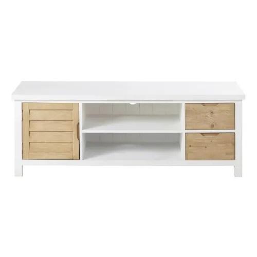 meuble tv 1 porte 2 tiroirs bicolore maisons du monde