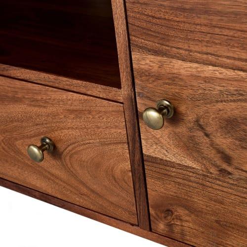 meuble tv 2 portes 1 tiroir en acacia massif maisons du monde