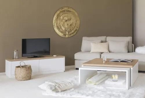 meuble tv 2 portes blanc l140 maisons du monde