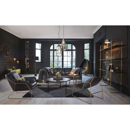 meuble tv 2 portes en metal noir et dore maisons du monde