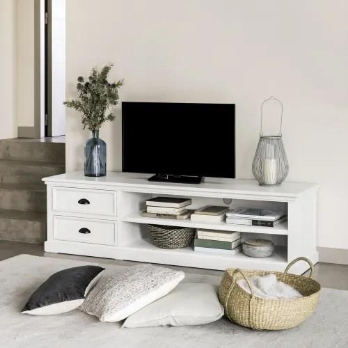 meuble tv 2 tiroirs blanc maisons du monde