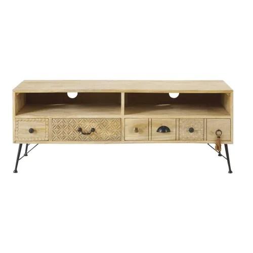 meuble tv 3 tiroirs en manguier massif maisons du monde