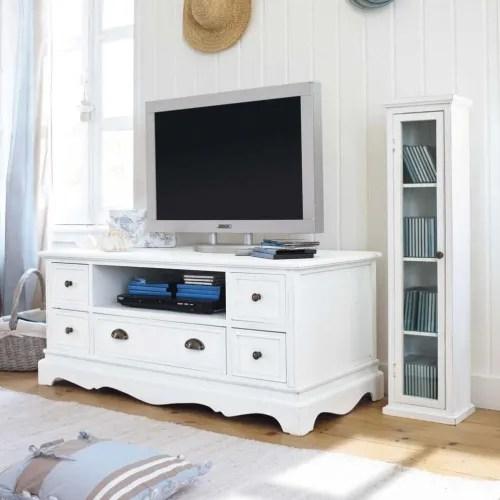 meuble tv en paulownia blanc maisons du monde