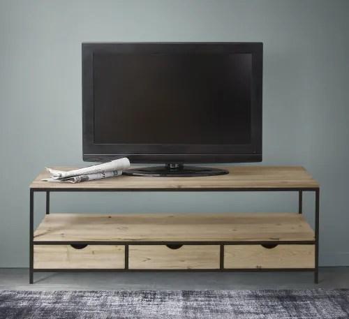 meuble tv en sapin massif et metal maisons du monde