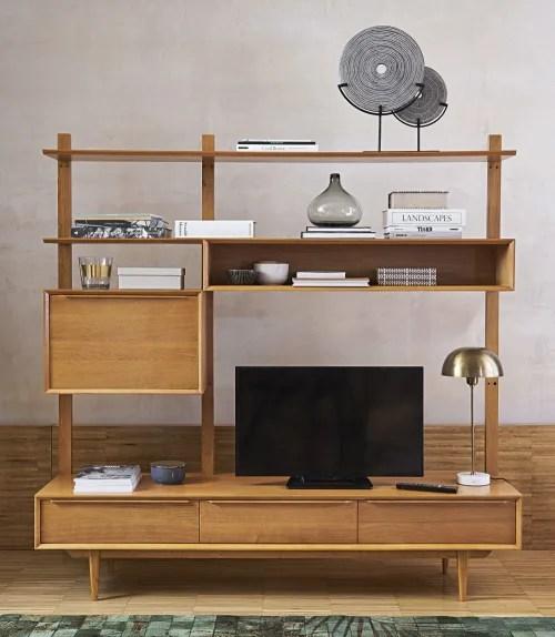 meuble tv etagere vintage en chene massif maisons du monde