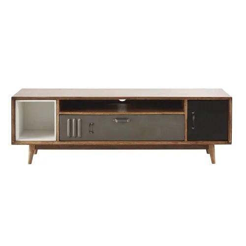 meuble tv indus 2 portes en manguier et metal maisons du monde
