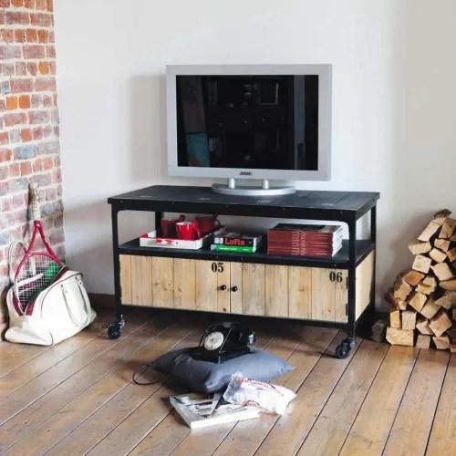 meuble tv indus a roulettes en metal et sapin noir maisons du monde