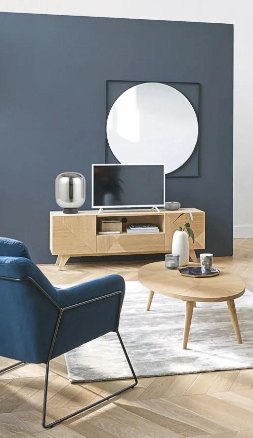 meuble tv vintage 2 portes 1 tiroir maisons du monde
