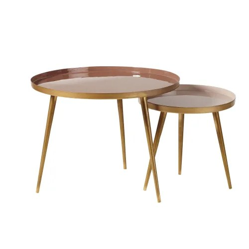nest of tables in pinky beige and gold metal maisons du monde