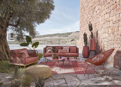 outdoor teppich orange mit bunten motiven 140x200 maisons du monde