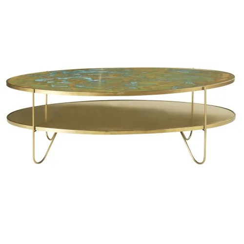 oval brass coffee table with two surfaces maisons du monde