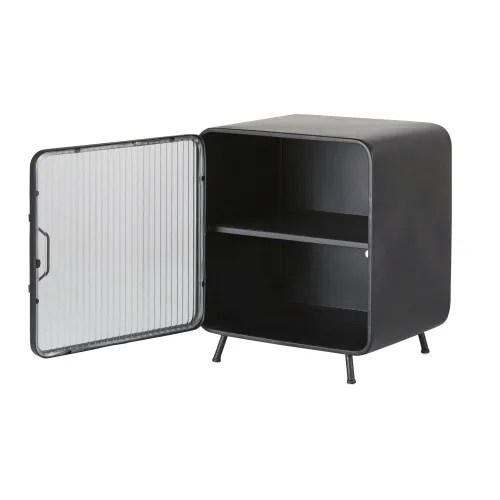 petit meuble de rangement 1 porte en metal noir maisons du monde