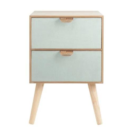 petit meuble de rangement 2 tiroirs en velours et metal maisons du monde