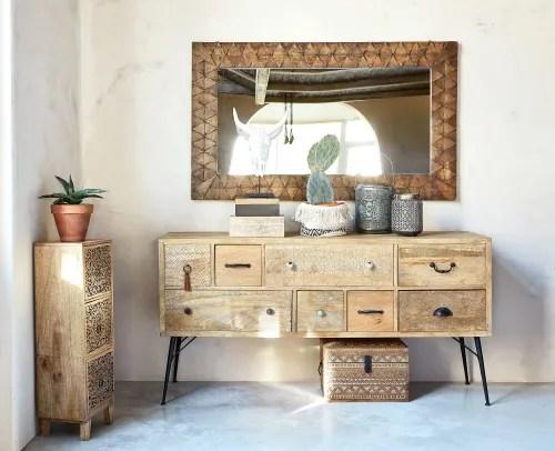 petit meuble de rangement 3 tiroirs en manguier grave maisons du monde