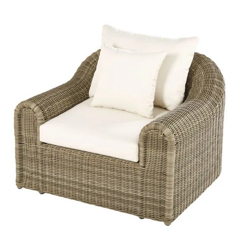 Dai un'occhiata ai nostri mobili e oggetti decorativi e fai i pieno di. Poltrona Da Giardino In Resina Intrecciata Grigia E Tela Ecru Mimizan Maisons Du Monde