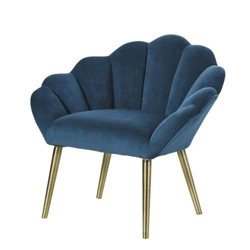 In pelle, in tessuto, grandi, con il letto, angolari: Poltrona Vintage Blu Pavone Homarid Maisons Du Monde