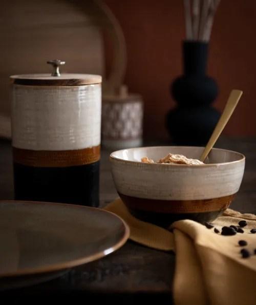 pot en faience et bambou beige marron et gris anthracite maisons du monde