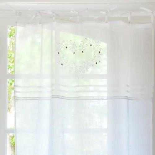 rideau a nouettes en coton blanc brode a l unite 110x250 maisons du monde