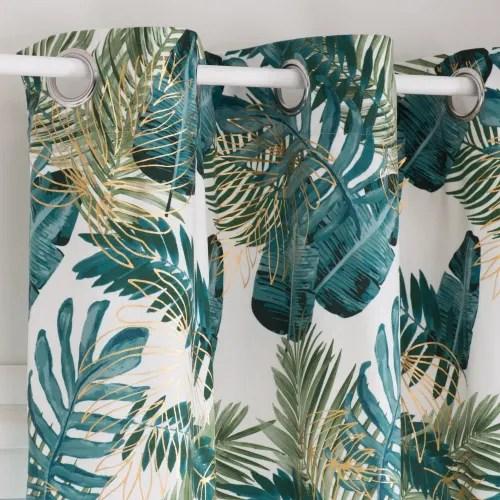 rideau a œillets blanc imprime jungle a l unite 110x250 maisons du monde