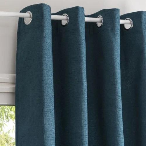 rideau a œillets bleu paon a l unite 140x300 maisons du monde