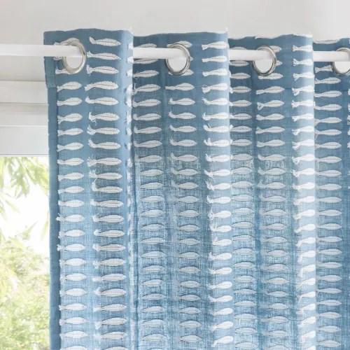 rideau a œillets en coton bleu a l unite 140x250 maisons du monde