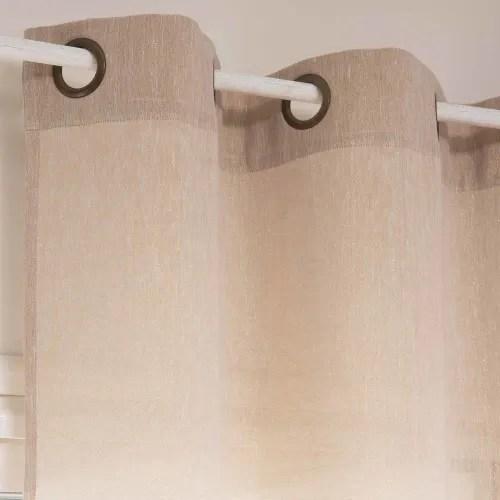 rideau a œillets en coton et lin beige a paillettes a l unite 140x250 maisons du monde