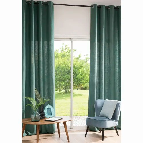 rideau a œillets en lin lave vert basilic a l unite 130x300 maisons du monde