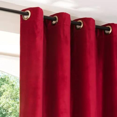 rideau a œillets en velours rouge et lin beige a l unite 140x300 maisons du monde