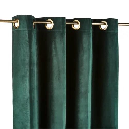rideau a œillets en velours vert emeraude a l unite 140x300 maisons du monde