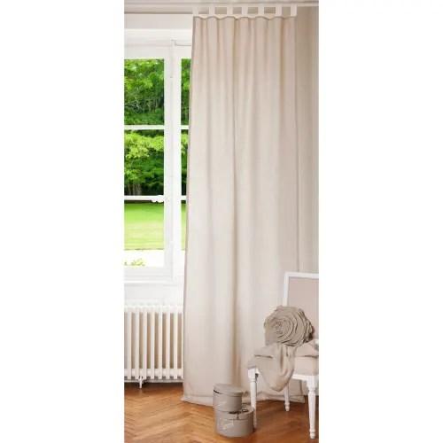 rideau a passants en lin ecru et blanc a l unite 105x300 maisons du monde