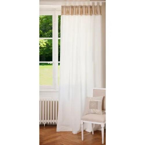 rideau double a passants en coton blanc et beige a l unite 150x250 maisons du monde