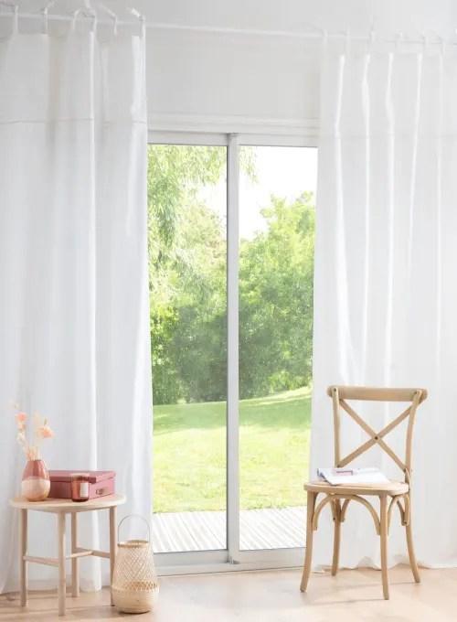 rideau en coton ecru et dentelle a l unite 130x250 maisons du monde