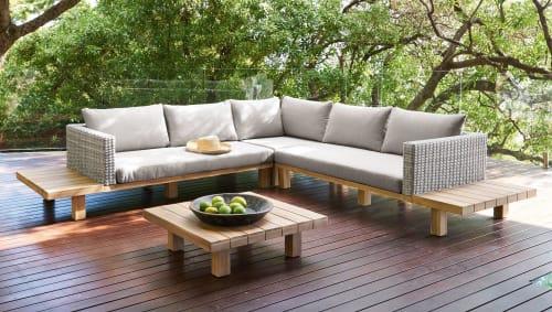 salon de jardin 4 6 places en acacia massif et toile grise maisons du monde