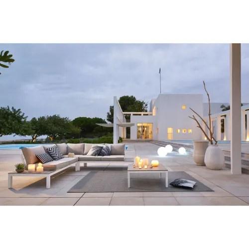 salon de jardin de 6 plazas gris claro y mesa baja maisons du monde
