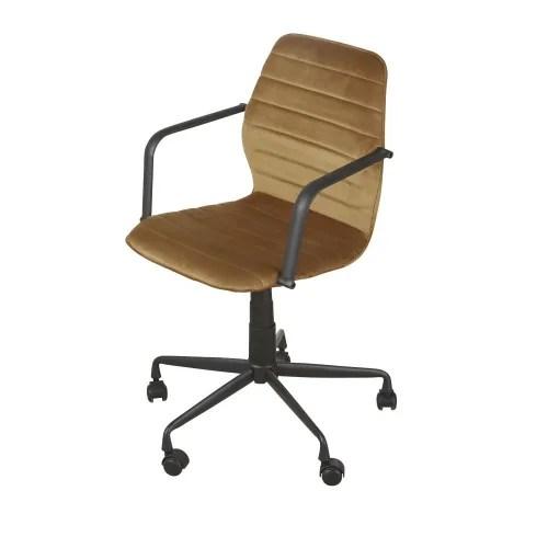Con una sedia confortevole, oltre a non affaticare la schiena, concentrazione e produttività aumentano. Sedia Da Ufficio Professionale In Velluto Giallo Senape Jane Business Maisons Du Monde