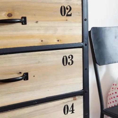 semainier indus 6 tiroirs en metal noir et sapin maisons du monde