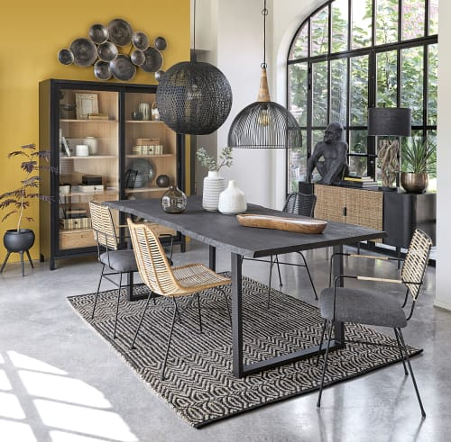 slate grey oak and metal 8 10 seater dining table w220 maisons du monde