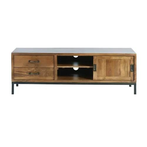Dai un'occhiata ai nostri mobili e oggetti decorativi e fai i pieno di ispirazione! Solid Mango Wood And Black Metal 1 Door 2 Drawer Tv Cabinet Hipster Maisons Du Monde